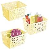mDesign 3er Set Badkorb für Bad oder Dusche - Aufbewahrungskorb aus Kunststoff für Badaccessoires wie Shampoo, Kosmetik und andere Beauty-Produkte - hellgelb