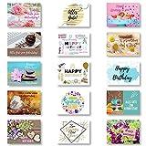 Domelo Geburtstagskarten, 15er Set mit Umschlag, Happy Birthday Postkarten, Kraftpapier Karten zum Geburtstag, Geburtstagskarte für Mann/ Frau/ Kinder, Postkarte als Grußkarten,(set 4)