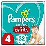 Pampers Baby-Dry Pants 4, 32Höschenwindeln, Einfaches An- und Ausziehen, Zuverlässige Pampers Trockenheit, 9-15kg