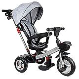 Dreirad 4 in 1, Kinderdreirad mit Schubstange, Baby Kinderwagen mit 360° Drehsitz und Abnehmbarer Sonnendach, Belastbarkeit bis 25 kg, Grau