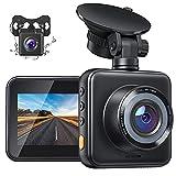 Dashcam Vorne und Hinten Autokamera C420D, 1080P FHD Mini Dual Lens Kamera, 170 ° Weitwinkel mit Nachtsicht, G-Sensor, Parküberwachung, Loop-Aufnahm und WDR