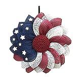 XIXISA Amerikanischer Blumenkranz Glory Patriotisch Rot Weiß Blau Kranz Kranz Haustür Fenster Garten Urlaub Dek