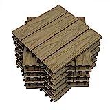 WOLTU 22 x Premium WPC Terrassenfliesen 30x30cm Holz Optik mit Relief, Balkonfliesen Garten Fliesen Bodenbelag Hellbraun (2 m²)