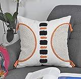 Amitis Dekorative Boho Kissenbezug Baumwolle Dekokissen Beige Super Weich Kissenbezüge Quaste Decor Kissenhülle für Sofa Couch Schlafzimmer Wohnzimmer Set (45 x 45 cm)
