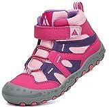 Mishansha Wanderschuhe Kinder Trekkingschuhe Mädchen rutschfeste Hikingschuhe Klettverschluss Wanderstiefel Rosa Gr.25