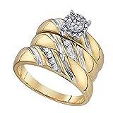 Da Herren Ring/Verlobungsring Diamant 0.19 Karat 9 Karat Gelbgold und Wo Trio