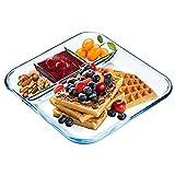 NUTRIUPS Glasgeteilter Teller, viereckiger Glas-Teller mit Fächern, quadratischer Portionsteller, Glasfach-Teller, geteilter Teller für Lunch-Teller mit Trennwänden, Glas-Fach, Speiseteller, 25,4 cm