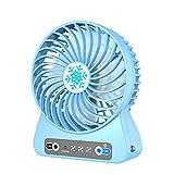 DSJGVN Tischventilator - Kleiner USB Ventilator - 3 Geschwindigkeit Einstellbar, LED-Beleuchtung, 3200 MAh Akku Mit Großer Kapazität, Mini Leise Ventilator, Handventilator (Blau)