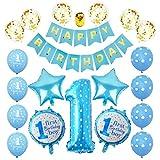 Geburtstags-Dekorationen für Jungen, blaues Happy Birthday Banner, Baby Boy Zahl 1 Geburtstag Partyzubehör mit Latex und Folienballons Kit