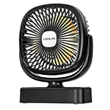 COMLIFE Mini Tiscchventilator, USB Ventilator mit 4400 mAh Akku, LED Licht, 360 °Drehung, 3 Geschwindigkeiten, Camping Ventilator für Camping, Büro, Zuhause