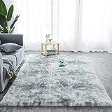 Hochflor Teppich Wohnzimmerteppich, Soft Area Rug Schlafzimmer Shaggy Teppich, Shaggy Schlafzimmer Bettvorleger Outdoor Carpet Grau 90 x 150 cm