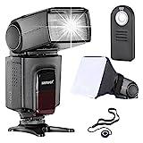 Neewer TT560 Speedlite Blitzgerät Kit für Canon Nikon Sony Pentax DSLR Kameras mit Standard Hot Shoe Inkl: 1x TT560 Blitzgerät+1xFernbedingung + 1x Universal klappbarer Flash Diffusor + 1x Objektiv Deckel H