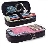 Pencil Case Valentine Kranz und Fahrrad auf hölzernen Vintage rosa Tür große Kapazität Pu Leder Bleistift Tasche Schulbüro Bleistiftbeutel