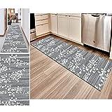Hciszl Teppich Läufer Flur Grau 80x200cm Nach Maß rutschfest Waschbar Küche Modernes 3D-Druckmuster Goldener Diamantfloren Teppich