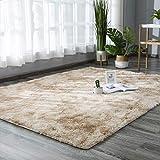 Logo Shaggy Teppich 160x160cm Weich Teppich Hochflor Einfach zu Säubern für Wohnzimmer, Schlafzimmmer, Esszimmer, Deko Usw, Beige