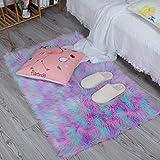 HEQUN Faux Lammfell Schaffell Teppich, Kunstfell Dekofell Lammfellimitat Teppich Longhair Fell Nachahmung Wolle Bettvorleger Sofa Matte (Grün+Rosa+lila, 75 X120 cm)