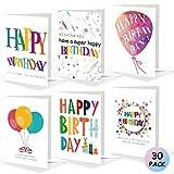 30 Stk Geburtstagskarte, Geburtstagskarten Set mit Umschlag, Glückwunschkarte Grusskarte Geburtstag Happy Birthday Karte Klappkarten mit Briefumschlag Geburtstag Karten für Kinder Frau(Ohne Aufkleber)