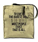 To Live Is The Rarest Thing Motivation Oscar Wilde Zitat Natürliche Leinwand Tote Tragetasche, Tuch Einkaufen Umhängetasche
