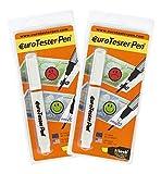 EURO TESTER PEN ® XL - Vorteilspackung mit 2 Prüfstift Geldscheinprüfer (Patentierte Formel) 30% Rabatt funktioniert bei sämtlichen internationalen Währungen (Made in Italy)