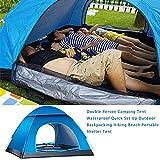 Instant Pop Up Camping Zelte für 2-3 Personen - Wasserdichtes Winddicht Familie Kuppelzelt - Leichtes Anti-UV Wurfzelt mit Moskitonetz und Handtasche für Camping Wandern Angeln