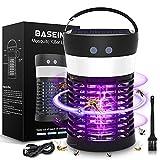 BASEIN UV Moskito Killer Lampe, Solar Bug Zapper Licht, 3-in-1 tragbare SOS Camping Laterne Moskito Zapper, Solar und USB aufladbar, IP65 wasserdicht für Outdoor-Camping mit einziehbaren Haken