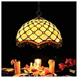 LEIKAS Tiffany Style Pendelleuchte Deckenleuchte Glas Lampenschirm Pendelleuchte Leuchte für Schlafzimmer Büro Restaurant Leuchte