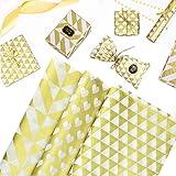 LYTIVAGEN 60 Blatt Seidenpapier Gold Geschenkpapier Dünne Packpapier Gefalte Metallic Geschenkpapier Einwickelpapier Geschenk Verpackungspapier für Geburtstag, Hochzeit, Weihnachten, 50x70cm