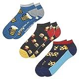 soxo Herren Bunte Sneaker Socken | Größe 40-45 | 3er Pack | Baumwolle Herrensocken mit Lustigen Motiven | Ideal für Flache Schuhe | Tolle Ergänzung für Ihre Garderobe | Bier/Pizza/Burger&Pommes(III)