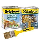 Xyladecor Dauerschutzlasur und Grundierung, UV Holz-Lasur für außen im Set, mit Pinsel (1x 0,75L + 1x 0,75L, farblos)