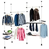 SoBuy FRG38 Teleskop Garderoben System Kleideraufbewahrungssystem Regalsystem mit 4 Kleiderstange und 3 Körben