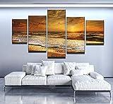 5 Teilig Bilder Leinwand,Leinwanddrucke 5 Stück,Leinwanddrucke Wanddekoratio 5 Teiliges Wandbild,Bilder Wohnzimmer Modern Mit Rahmen,3D Xxl Bilder,Wohnzimmer,150X80Cm Golden Shore Sonnenuntergang