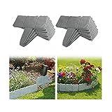 YXLM Rasenkante für den Garten, Stein-Effekt, Rasenkanten aus Kunststoff, Gartenzaun zum Abtrennen von Rasen von Garten und Beeten (40 Stück, grau)