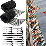 2 Stück Kunststoff-Rinnenschutz-Netzschutz, Blattschutz-Abdeckungsnetz 6'x 20' zum Schutz vor Blättern oder Schmutz, die Dachrinne verstopfen, Fallrohr und Abfluss mit 20 festen Haken