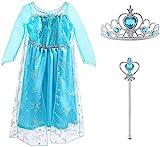 Vicloon Prinzessin Kostüm Mädchen, Eiskönigin ELSA Kleid Blau mit Diademe & Zauberstab, für Weihnachten Karneval Party Halloween Fest, 2 Jahre Size 100 cm Blau
