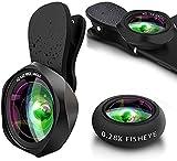 HD Handy Objektiv Kamera Linse Kit, 3 in 1 Lens Set mit 0.6X 145° Weitwinkel + 15X Makro + 0.28X Fisheye Lens, Universal Clip On for Smartphone iPhone Samsung Huawei Laptop iPad Tablet