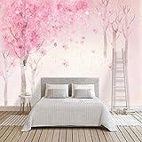 Fototapete romantische handgemalte aquarell rosa kirschbaum dekoration wandmalerei mädchen wohnzimmer schlafzimmer wandbild tapete