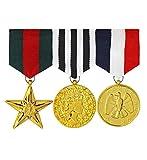 Luxuspiraten - Herren 3er Set Armee Ehrenmedaillen zum selber anbringen, perfekt für Karneval und Halloween, Mehrfarbig