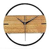 PMSMT 12 Zoll 3D Silent Vintage Wanduhr Einfache Moderne Design Holzuhren für Schlafzimmer Aufkleber Holzwanduhr Home D