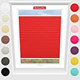 Schuette Dachfenster Plissee nach Maß ● Geisha's Lips (Rot) ● 90-99 x 120-149cm (Breite x Höhe) Maßanfertigung ● Suprafix Befestigung zum Anschrauben ● für alle Dachfenster
