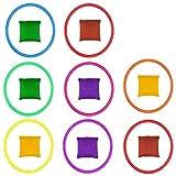 SNAGAROG 16 Pcs Werfen Spiel Set -Nylon Sitzsäcke und Kunststoffringe Mini Sitzsäcke Toss Rings Spiele für Übungsspiele, Karneval,Spiele im Freien, Party Spiele