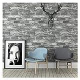 UUPA Tapete Grau Ziegelstein Moderne Vlies Wohnkultur TV Hintergrund Wand Papier Roll (Color : Gray, Size : 1000cm/53cm)