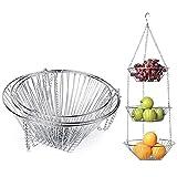 Draht-Hängekorb, 3-stöckig, Edelstahl, Obstkorb für Zuhause, Küche, Badezimmer, Restaurants