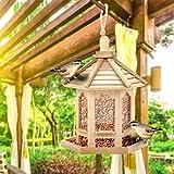 H.eternal(TM) Vogelfutterstation aus Holz, zum Aufhängen, für Garten, Hof, Dekoration, sechseckig, mit Dach, Wildvogel-Station für Kinder, Outdoor-Spielzeug