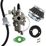 AISEN Vergaser mit Luftfilter Benzin Schlauch Filter für 47cc 49cc Pocketbike Dirtbike Benzinhahn Pocket 2 Tak