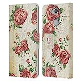 Head Case Designs Rosen Ländlicher Charme Leder Brieftaschen Handyhülle Hülle Huelle und Passende Designer Hintergrundbilder kompatibel mit Sony Xperia XA2