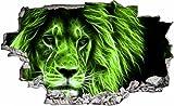DesFoli Löwe Abstrakt 3D Look Wandtattoo 70 x 115 cm Wanddurchbruch Wandbild Sticker Aufkleber C070