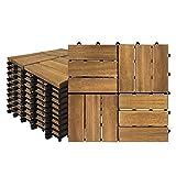 Aufun Holzfliesen Balkon 30 x 30 cm Akazien-Holz Terrassenfliese Balkonfliesen Klickfliese, Bodenbelag, Drainage, Garten Klick-Fliese, Modell B: 1m² (11 Stück)