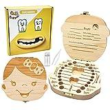 ZIIDOO Zahnbox Holz Milchzähne Box,Zahndose für Milchzähne aus Holz, Milchzahndose Zahnfee Geschenke für Mädchen und Jungen[Deutsch Version](Mädchen)