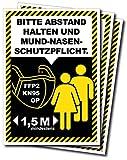 CarGuys 3er Set Aufkleber • Bitte Abstand halten und Mund-Nasen-Schutzpflicht • DIN A5 (148 x 210 mm), rechteckig, Hinweis-Aufkleber, selbstklebend.