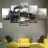 5 Teile Bild Auf Leinwand Leinwandbilder Lokomotive Zug Dampf Fünfteilig Mehrteilig Zum Aufhängen Bereit Bilder Kunstdruck Wandbilder 150X80cm